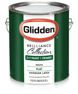 Glidden brilliance collection paint primer flat for Best exterior paint and primer in one
