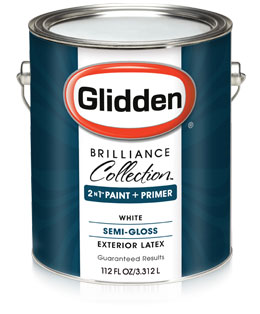 Glidden brilliance collection semi gloss exterior paint primer for How much exterior paint do i need