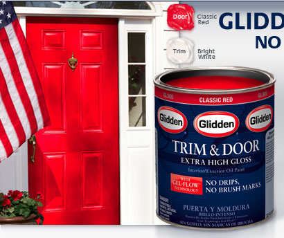 Glidden Trim Door Extra High Gloss With Gel Flow Technology Bright White Sample Deepest Black Clic Red